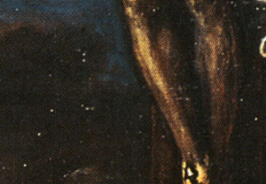 Crucifixion (Titian) - Detail, white flecks.
