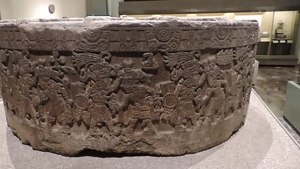 File:Tizoc Stone, National Anthropology Museum, Mexico City-2.webm