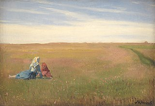 Two Girls in a Field. A Summer's Day