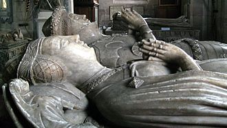 Richard Vernon (speaker) - Effigy of Benedicta de Ludlow (foreground), Sir Richard's wife. St Bartholomew's church, Tong, Shropshire.
