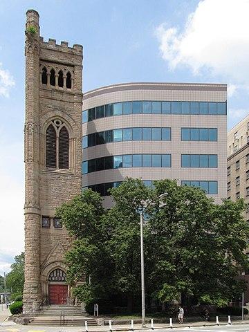 Tower of Bellefield Presbyterian Church and Bellefield Towers