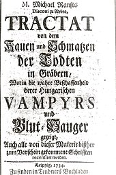 Title page of treatise on the chewing and smacking of the dead in graves (1734), a book on vampirology by Michael Ranft. Tractat von dem Kauen und Schmatzen der Todten in Grabern 002.jpg