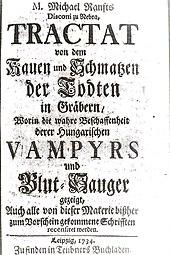 Première page du Tractat von dem Kauen und Schmatzen der Todten in Gräbern (1734), ouvrage de vampirologie de Michael Ranft