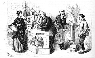 "Trade dollar (United States coin) - A political cartoon published in the April 25, 1874 issue of Harper's Weekly. Entitled ""Rags for Our Working Men—Specie for the Foreigners"", the caption for this cartoon reads ""Columbia: Dear me, I do think it very wrong that the good nice trade dollar (worth 100 cents) should be sent out of the country for the benefit of the 'heathen Chinee,' for if these gentlemen are permitted to have their own way, it will take a basket full of greenbacks (worth —?) to buy dinner for my children."""