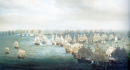 Painter Nicholas Pocock's conception of the situation at 1300h Trafalgar1.jpg