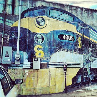 Trains (mural) - Image: Trains Mural by Jeff and Gregory Ackers Columbus, Ohio 1989 02