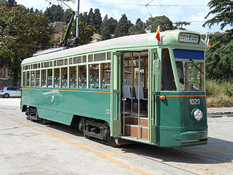 Trams in Naples - 1935-built tramcar 1029 was preserved with its original body, and in 2006–2011 it was fully restored. A pantograph replaced its trolley pole.