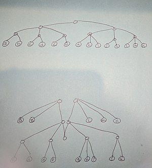Finger tree - Shows a 2-3 tree (top) can be pulled up into a finger tree (bottom)