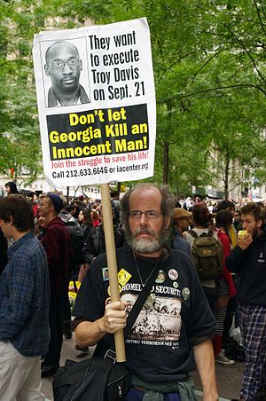Troy Davis - A man protesting the September 21 execution date at the September 17 Occupy Wall Street rally