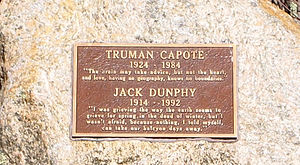 Jack Dunphy - Truman Capote and Jack Dunphy stone at Crooked Pond in the Long Pond Greenbelt in Southampton, New York