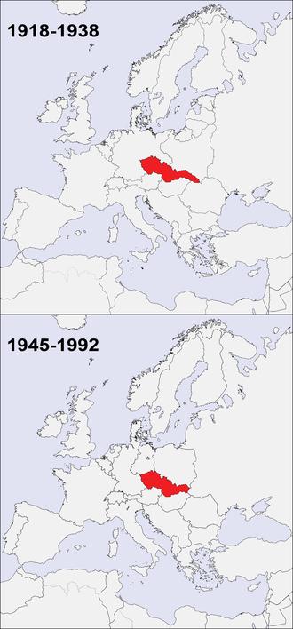 Lage der Tschechoslowakei im veränderten Europa 1918–1938 und 1945/49–1990/92