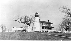 Turkey Point Light - Taken before 1972 when the house was razed.