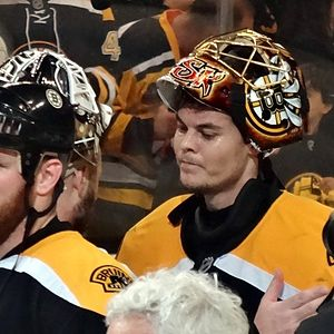 Tuukka Rask - Rask is congratulated by Tomáš Vokoun following the Bruins sweep over the Penguins in the 2013 playoffs.