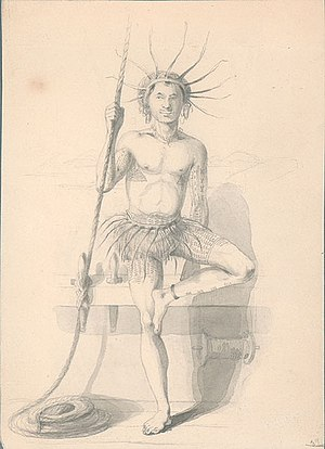 United States Exploring Expedition - Tuvaluan man in traditional costume drawn by Alfred Thomas Agate in 1841.