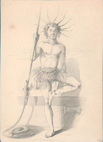 A Tuvaluan man in traditional attire drawn by Alfred Agate in 1841, during the United States Exploring Expedition Tuvalu costume.jpg