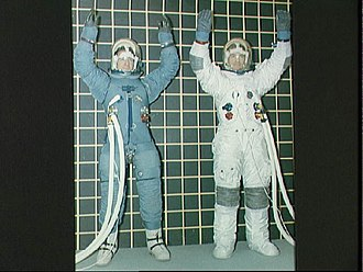 Beta cloth - Apollo pressure suit before (left), and after the addition of Beta cloth (right)