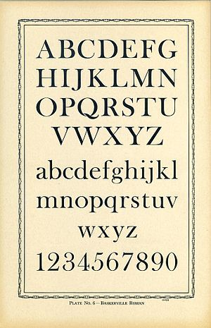 Baskerville - An American adaptation of Isaac Moore's type following Baskerville's style, from the late metal type period.