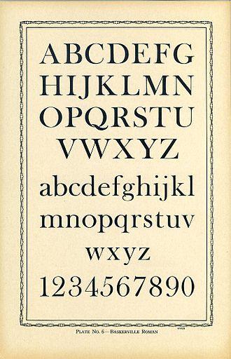 Baskerville - Image: Type Charts 6 Baskerville front (7630278980)