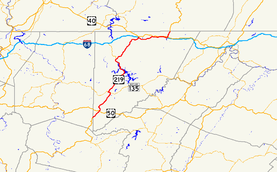 A map of far western Maryland showing major roads.  U.S. 219 runs the length of Garrett County, connecting Oakland with I-68.