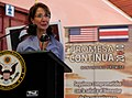 U.S. Ambassador to Costa Rica Anne Andrews talks to Costa Ricans about the Continuing Promise (CP) mission Aug. 21, 2010, during the CP opening ceremony in Limon, Costa Rica 100821-M-PA861-056.jpg
