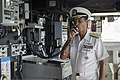 U.S. Navy Adm. Cecil D. Haney, the commander of the U.S. Pacific Fleet, uses the ship's announcement system to speak to those aboard the amphibious dock landing ship USS Pearl Harbor (LSD 52) in Pearl 130819-N-SP369-030.jpg