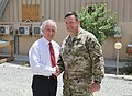 U.S. Sen. Bob Corker of Tennessee, left, poses for a photo with U.S. Army Command Sgt. Maj. Ledford Stigall, the sergeant major of NATO Special Operations Component Command-Afghanistan (NSOCC-A), at Camp 130707-N-QV903-011.jpg