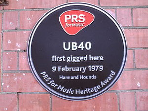Kings Heath - Plaque marking UB40's first gig.