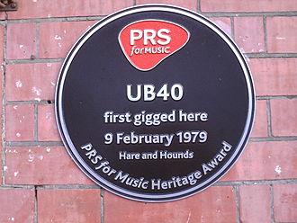 Kings Heath - Plaque marking UB40's first gig.