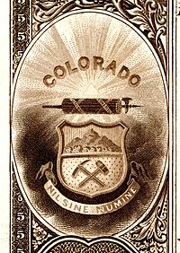Colorado state coat of arms from the reverse of the National Bank Note Series 1882BB