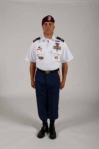 "Army Service Uniform - Blue ASU class ""B"" uniform with jump boots."