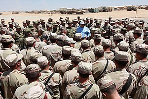 Bacho Akhalaia - Bacho Akhalaia gathers with the 31st Georgian Battalion aboard Camp Delaram II, Helmand Province, during his visit to the camp