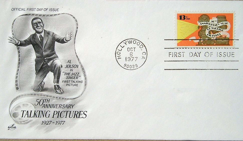 USPOD Al Jolson 1977 First Day Cover-excised address