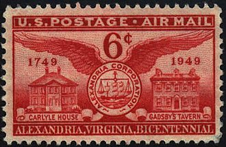 History of Alexandria, Virginia - U.S. postage stamp honoring Alexandria's bicentennial in 1949, featuring the Carlyle House and Gadsby's Tavern