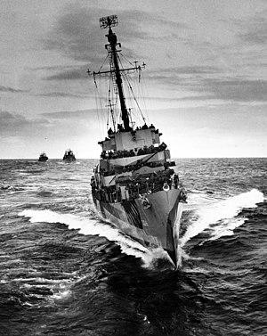 USS Martin H. Ray (DE-338) escorting a convoy in the Atlantic Ocean, in 1944-1945 (26-G-4502)