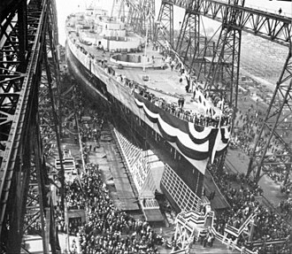 USS Washington (BB-56) - Launching on 1 June 1940
