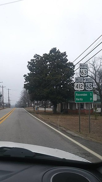 U.S. Route 63 in Arkansas - US Highway 62 joins US 63 and 412 in Imboden