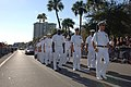 US Navy 070120-N-0318S-004 Executive Officer of the Naval Operational Support Center Tampa, Lt. Mark Moreno, leads a formation of Sailors marching in the Tampa Bay Gasparilla Pirate Festival.jpg