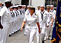 US Navy 090520-N-5538K-023 Cmdr. Patricia Taylor, officer-in-charge of the Fleet Activities Sasebo Branch Medical Clinic, enters the atrium of the medical building before conducting a uniform inspection.jpg