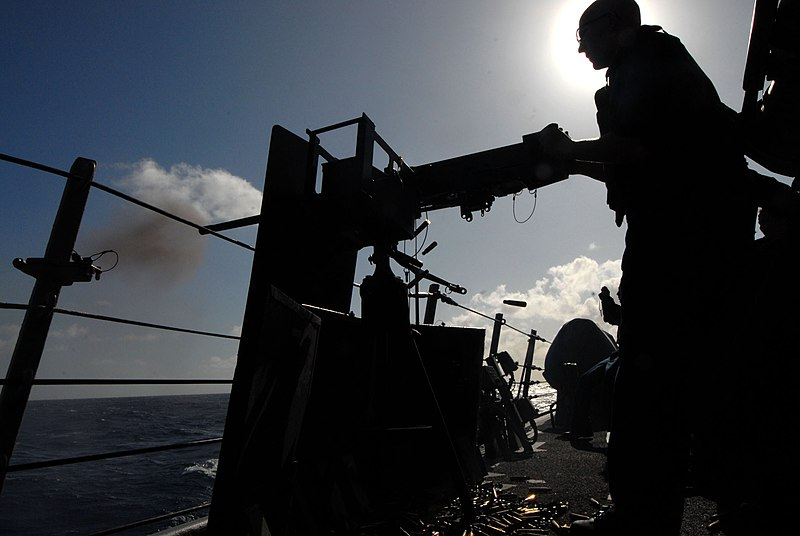 File:US Navy 090927-N-1688B-266 A sailor assigned to the guided missile destroyer USS Cole (DDG 67) fires a .50 cal machine gun during a live-fire training exercise.jpg