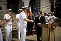 US Navy 110502-N-YM440-216 Vice Adm. Kevin M. McCoy greets Senate President Brandon Shaffer after a proclamation ceremony on the steps of the Color.jpg