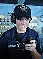 US Navy 111012-N-SF704-005 Seaman Jillian Brennan, from Boston, speaks into a sound-powered phone on the navigation bridge aboard the aircraft carr.jpg
