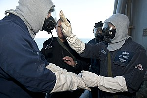 US Navy 120129-N-KS651-541 Sailors aboard the amphibious dock landing ship USS Pearl Harbor (LSD 52) simulate the decontamination process during a.jpg
