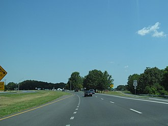 U.S. Route 13 in Maryland - US 13 northbound at southern terminus of MD 675 in Princess Anne