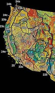 The Geography of the Western United States is split into three major physiographic divisions: the Rocky Mountain System (areas 16-19 on map),the Intermontane Plateaus (20-22), and the Pacific Mountain System (23-25).
