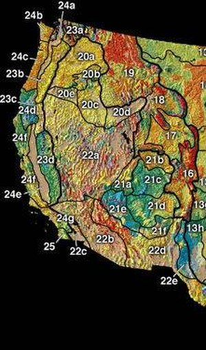 North American Cordillera - Physiographic divisions of the western United States include three mountain systems: the Rocky Mountain System (areas 16–19), the Cascade–Sierra Mountains (23), and the Pacific Border Province (24).
