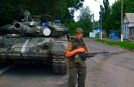 Ukrainian troops guarding a road in Donbass Ukrainian troops guard a road in Donbass.jpg