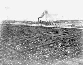Union Stock Yards, 1866. (CHS ICHi-06898)