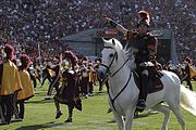 USC mascot Traveler with Trojan Warrior and The Spirit of Troy.