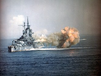 USS Idaho (BB-42) - Idaho bombarding Okinawa in 1945