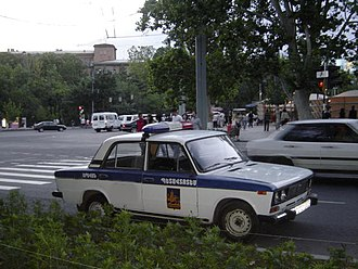 Militsiya - A Lada 2106 belonging to the Armenian State Automobile Inspection parked on a street in Yerevan, June 2007.